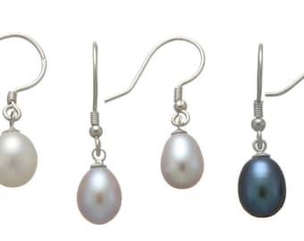 Oval Drop Shape Freshwater Cultured Pearl Sterling Silver Earrings