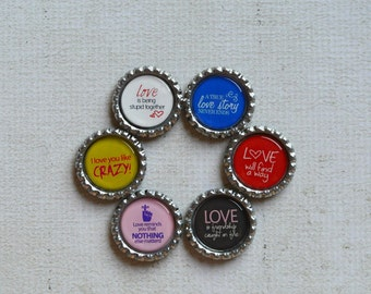 Love Gift- Bottlecap Magnets- Anniversary, Marriage, Wedding- Crazy in Love- Kitchen Magnets- Love Magnets- Best Friend Love- Simple Gift