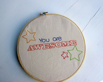Hand Embroidery Pattern // You Are Awesome