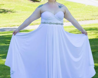 White Long Convertible Dress / Custom size / Maternity & Plus size included
