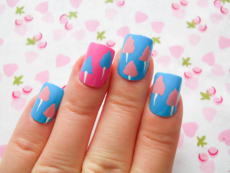 Cotton Candy Nails / Fake Nails / Kawaii Nails / Press on
