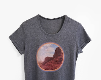 Vintage Graphic Tee | 70s Style Outdoor Desert Graphic T-Shirt | Womens 1970s Mountain Shirt | Bohemian Boho Landscape Tshirts | 70s Ringer