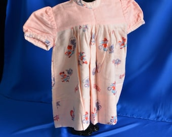 Pink Cowgirl Baby Girl Vintage Baby Dress Handmade NEVER WORN Baby Dress - puff sleeves -Flannelette