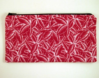 Red and White Leaf Zipper Pouch, Make Up Bag, Gadget Bag, Pencil Pouch