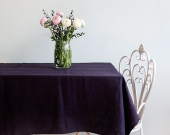 Softened Dark Brown Linen Tablecloth - Ready to Ship
