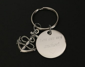 Personalized Anchor Key Chain. Customized Stainless Steel Key Chain. Friendship Key Chain. Sister Key Chain. Encouragement Gift. Anchor Gift