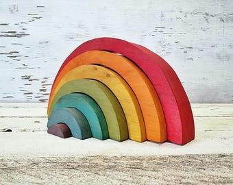 Rainbow stacker, Rainbow toy, Rainbow figurine, Rainbow pyramid, Waldorf RAINBOW Stacker, Rainbow puzzle stacker, Eco toys, Montessori toys
