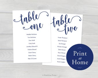 5x7 Navy Printable Wedding Seating Chart Cards, Tables 1-20 Editable Template PDF Instant Download, Navy Blue Seating Cards Table assignment