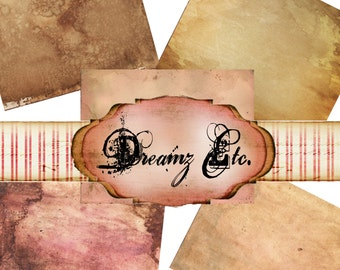"Tea Stained Papers - Digital Papers ""Journal"" - Paper  Pack 1,"