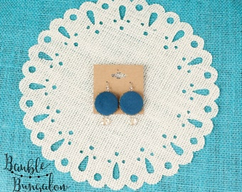 Teal Corduroy Covered  Button Earrings with Champagne Crystal Beads