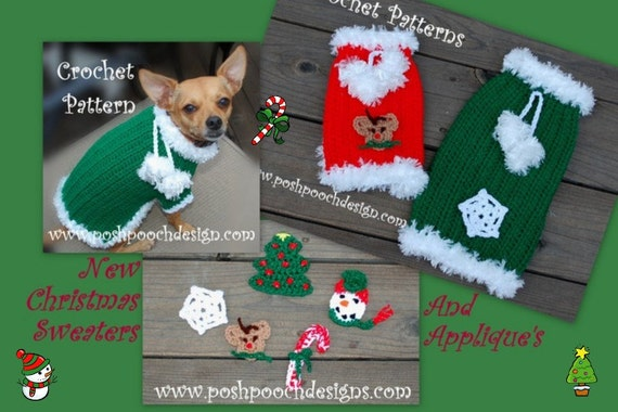 Instant Download Crochet Pattern Christmas Dog Sweater With 5