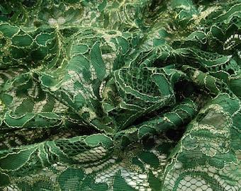 "58"" Width- Emerald Green and Metallic Gold Alencon Lace Fabric"
