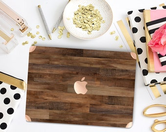 Macbook Pro 13 Case Macbook Air Case Laptop Case Macbook Case . Dark Varnished Wood with Rose Gold Chrome Detailing