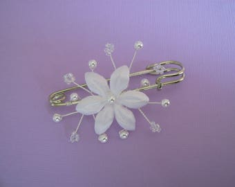 Clip/back train / white/white/Crystal beads flower p brooch dress bridal/wedding (cheap cheap)