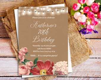 70th Birthday Invitation Vintage Floral
