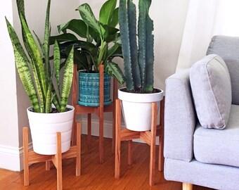 Set of Three Mid Century Modern Plant Stands, Square Legs, Oak Wood