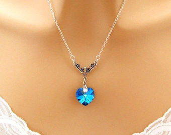 Blue Heart Necklace, Victorian Wedding Jewelry, Bridesmaid Necklace Swarovski Blue, Victorian Bridesmaid