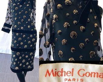 Michel Goma Dress Elizabeth Arden Velvet Silk Gold Jean Patou Balenciaga Museum Dress