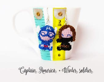 Captain America and Winter soldier amigurumi earrings crochet