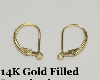 14k Gold Filled Lever Back Earring Wire, Plain Style, 1 Pair USA