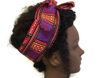 Multicoloured satin lined headband. Ankara headband. Ankara bandana.