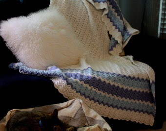 Afghan blue and white // white crocheted blanket with blue strips // hand made throw