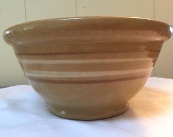 "Antique Yellowware Bowl Striped 8"" Yellowware Yelloware Yellow ware bowl with 4 Mocha and White Stripes."