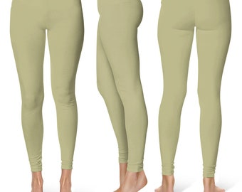 Sage Green Leggings, Mid Rise Waist Yoga Pants, Workout Clothes for Women