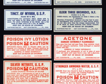 8 Vintage Apothecary Labels - Collectible, Altered Books, Decoupage, Artist Trading Cards