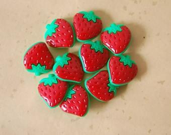 Strawberry buttons 4pcs  AO59