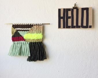 Wall Decor Small Weaving Wall Hanging on Brass | Woven Wall Hanging Geometric | Bohemian Weaving | Minimalist Bedroom