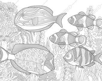 Ocean World. Tropical Fishes. Coloring Pages. Animal coloring book pages for Adults. Instant Download Print