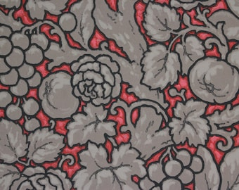 1920s Antique Vintage Wallpaper Grapevine Fruit Flowers on Red by the Yard