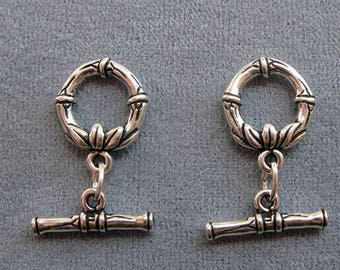 2 Sets, TierraCast Antique Silver Bamboo Toggle Clasp, Medium Size Toggle, Bar and Ring Clasp