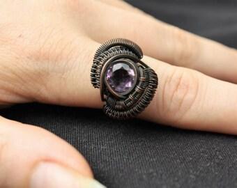 Amethyst copper ring