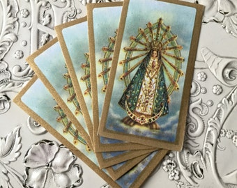 5pcs IMMACULATE VIRGIN MARY Miniature Vintage Prayer Cards