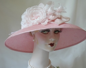 Couture Ladies Pink Kentucky Derby Straw Hat, Formal Hat