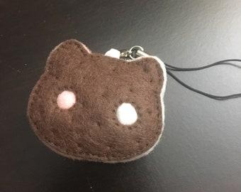 Chocolate Cookie Cat Felt Charm