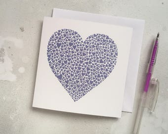 Purple hearts love card – purple heart card – papercut art – wedding card –  wedding card – engagement card – thank you card – Valentine