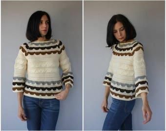 Vintage 1960s Sweater | 60s Sweater | 60s Jack Winter Sweater | 60s Wool Sweater | Bohemian Sweater | 1970s Sweater - (small/medium)
