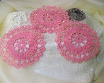 Crochet Doilies, Pink Doilies, Lace Doilies, Table Topper, Centerpiece, Hand Crochet, Pink Lace, Ready to ship