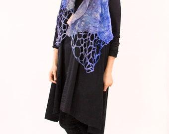 silk scarf, felt scarf, boho scarf, hand dyed scarf, Kate Ramsey, silk wrap, felted shawl, felt wrap, wool scarf, colorful