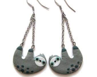 Sloth Earrings, Sloth Jewelry, Animal Earrings, Cute Animal Jewelry, Zoo Earrings, Zoo Jewelry, Cute Earrings, Funny Gifts For Friends Emoji