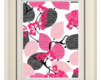 Modern Vintage Pink/Gray Art Print (Unframed)