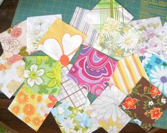 Flower Power Quilt Squares Charm Pack, Quilt top, Vintage Floral, Vintage Fabric, Retro, Quilting Bundle, Bright Colors, Sewing Heirlooms