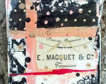 original painting mixed media collage acrylic contemporary with vintage flair, black pink white beige red gold on canvas high gloss finish