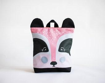 Badger backpack for kids, Kids backpack, Pink children backpack, Printed waterproof backpack