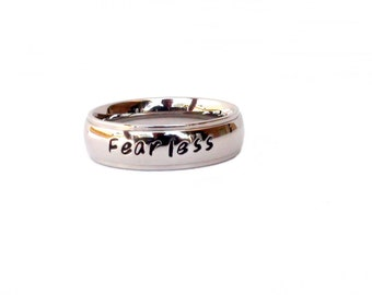 Fearless-  Ring Inspirational Hand Stamped Ring Fearless Jewelry  Inspirational Ring Stainless Steel