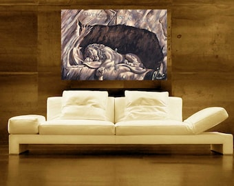 Lion of Lucerne painting SWITZERLAND canvas print