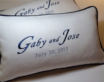 Something Blue - KNEELING PILLOWS - padrino de cojines madrina de cojines Custom Embroidery Bride Groom's Names and Date